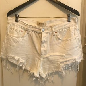 Free People White Destroyed Cut off Shorts